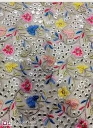 For Dress 44-45 Net Embroidery Fabrics, 260-280 GSM, Floral