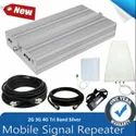 Tri Band Silver Mobile Network Amplifier Antenna 2G 3G 4G Full Kit - Coverage 1500 sq, feet