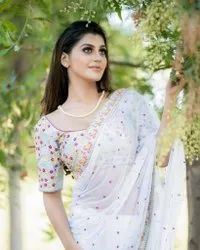 Present Geoggat With Heavy Emboidery Work Saree