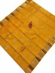 Wedding Wear Yellow Designer Chanderi Silk Saree, 6.3 m (with blouse piece)