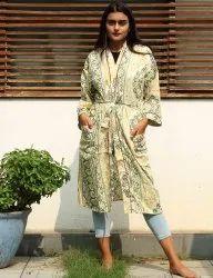 Beige cotton Short Kimono Robe
