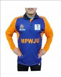 Sportshelpline Navy Blue With Orange Indian Cricket Team Jersey