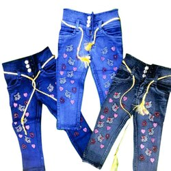 Casual Wear Girls Printed Denim Jeans
