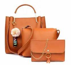 Luzoso India Ladies Plain Leather Combo Handbags, Size: 32x18x8 Cm