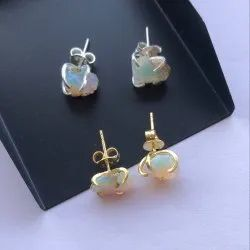 Natural Ethiopian Opal Rough Stone Studd 925 Sterling Silver Gold Plated Earring