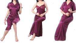Satin Plain 4 Pieces Designer Purple Ladies Night Dress Set