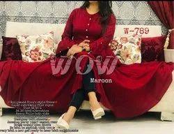 Rayon Plain Ladies Designer Maroon Kurti, 18 To 50