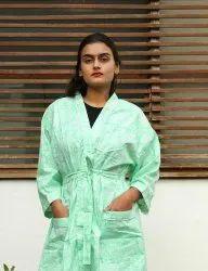 Sea Green Block Print Short Kimono Robe