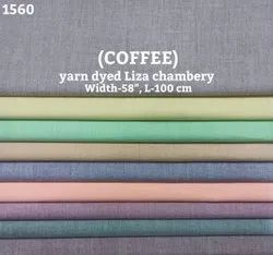Coffee Yarn Dyed Liza Chambray Shirting Fabric