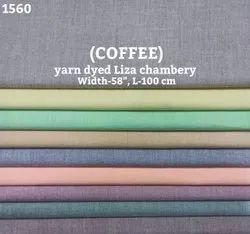 Coffee Yarn Dyed Liza Chambray Shirting Fabric
