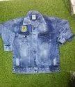Full Sleeve Casual Jackets Men Blue Denim Jacket, Size: Large