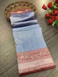 India Attires Khadi Cotton Party Wear Soft Lichi Silk Sarees, With Blouse Piece