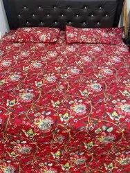 Screen Print Cotton Quilted Bedcover With Two Pillow