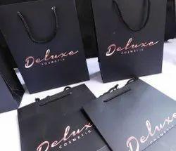 Brown Metallic Embossed Handmade Paper Bags With Ribbon Handles, Custom, Capacity: 1kg