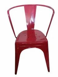 Paint Coated Red Iron Chair, For Restaurant