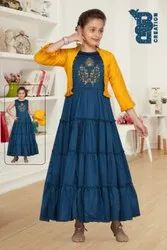 Female Party Wear Girls Indowestern Dress, Size: For 4 to 16th Year Girl