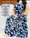 Malai Crepe Printed Blue Ladies Designer Dress, 18 To 50