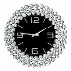 Iron,Crystal Round Analog Wall Clock, For Home,Office, Size: 24 Inch