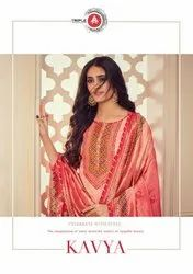 Triple A Kavya Satin Georgette Digtial Print With Embroidery Work Dress Material Catalog