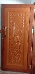 Color Coated Brown Steel Home Door, Single