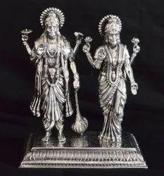 Handmade Silver Laxmi Vishnu Ji Statue, Packaging Type: Export Packaging, Size/dimension: 14 X 12 Cm
