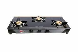 LPG Quba 3 Burners Golden Color Glass Top Gas Stove, For Home, Model Name/ Number: S3 Tulip