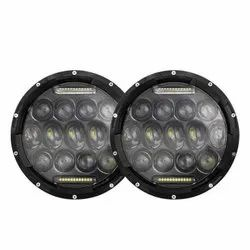 AllExtreme EXLHLS2 7inch Round Ring 13 LED Headlight with Turn Signal Lights for Jeep Wrangler