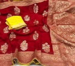 Pearl Indian Ethnic Designer Banarasi Pure Khadi Georgette Saree with 6.3 m (with blouse piece)