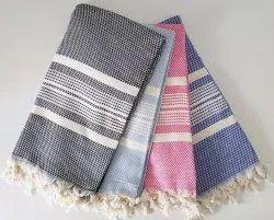 Yarn Dyed Plain Color Stripe Throw Blanket