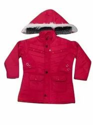 Nylon Blend Hooded Ladies Red Winter Jackets, Size: Small