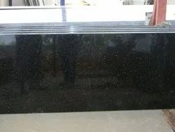 Polished Black Color Galaxy Granite Slab, For Flooring, Thickness: 17 mm