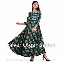 Printed Green Woman Gown
