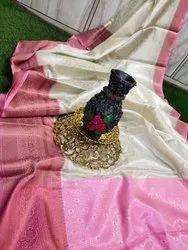 Party Wear Pink Banarasi Handloom Tissue Silk Saree, With blouse piece, 6.3 Meter