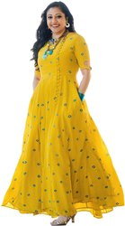 Party Wear 3/4th Sleeve 335 Ladies Rayon Anarkali Long Kurti, Size: Small