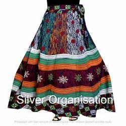 Wrap Multicolor Jaipuri Skirt, Size: XL
