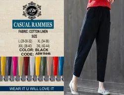 Cotton Linen Multicolor Casual Ladies Pants