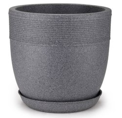 Grey Cool Round Pot With Tray