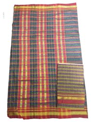 Kalburgi Sons Checked Iikal Ladies Poly Cotton Saree, Handwash, 7 m
