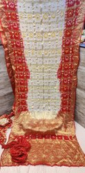 Multicolor Bandhej Gharchola Saree with Full Heavy Zari