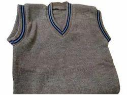 V Neck Men Grey Sleeveless Woolen Sweater