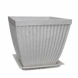 White Paris Square Pot With Tray