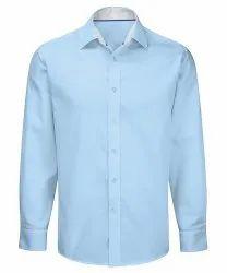Cotton Sky Blue Men Full Sleeves Plain Shirt