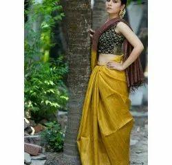 Plain Party Wear Tussar Ghicha Silk Handloom Saree, 6.3 m (with blouse piece)