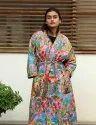 Pink Frida Kahlo Cotton Short Kimono Robe