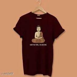 Half Sleeves Cotton/Linen Mens Printed Round Neck T Shirt, Size: S M L XL