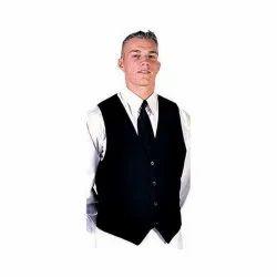 S - XL Black Mens Hotel Waist Coat