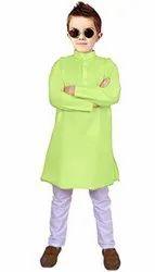 Green,white Casual Wear Kids Kurta Pajama