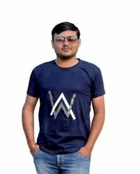 Half Sleeve Blue Mens Casual Round Neck T Shirt