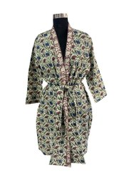 Block Print Short Kimono Robe