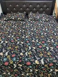 Black Floral Print Reversible Bed Comforter With Two Pillow